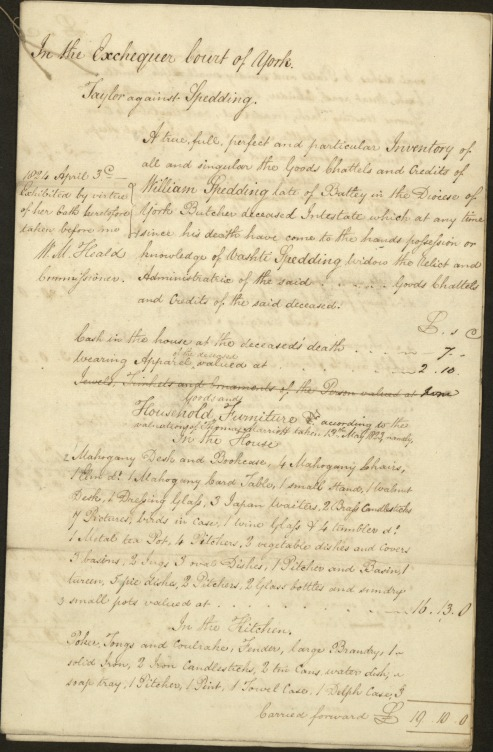 First page of the inventory of William Spedding, 1824: copyright of the Borthwick Institute For Archives, York